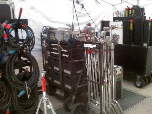 Some of the lighting gadgets it takes to shoot a major film scene