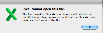 excel cannot open the file because the file format or file extension is not valid